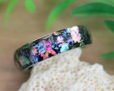 Black opal ring resin epoxy rings for women big size mother's day unusual unisex unique band promise men opal Opal Wedding Rings, Unique Wedding Bands, Womens Wedding Bands, Opal Rings, Black Opal Ring, Black Rings, Resin Ring, Resin Jewelry, Jewellery