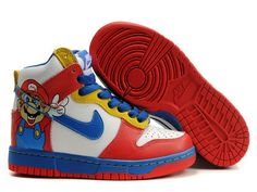 Nike Dunk High Custom Super Mario White Blue Red.The shoe features white leather on the toe box, mid panel and collar, combining with red ankle strap, tips and outsole. The royal blue color was applied to the midsole, swoosh, lace and super mario pattern sitting at the ankle strap which makes the shoe much more cute and attractable.