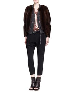 Jersey-Trim Mink Fur Jacket, Cashmere Waterfall Stars Cardigan, Lamé Button-Front Blouse, Double-Pleat Crepe Carrot Pants & Metallic Leather Belt by Brunello Cucinelli at Bergdorf Goodman.