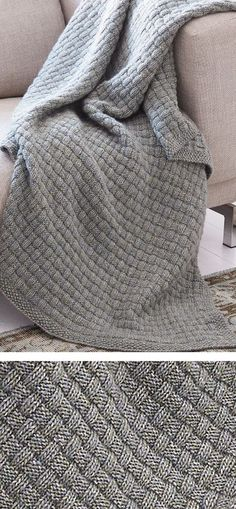 Free Knitting Pattern for Easy Tweed Blanket - Easy afghan texture in just knit and purl stitches. Designed by Patons UK