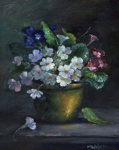 Oil Painting/ Marjorie Wilson/ Floral Still Life- 'Primulas in Copper'
