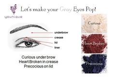 for Gray Eyes! Younique Products Fastest growing home based business! Join my TEAM!  Younique Make-up Presenters Kit! Join today for only $99 and start your own home based business. Do you love make-up?  So many ways to sell and earn residual  income!! Your own FREE Younique Web-Site and no auto-ship required!!! Fastest growing Make-up company!!!! Start now doing what you love!  https://www.youniqueproducts.com/KathysDaySpa