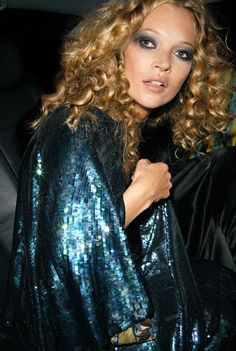 Kate Moss // curls, smokey eyes & sequins #style #fashion #model| @andwhatelse