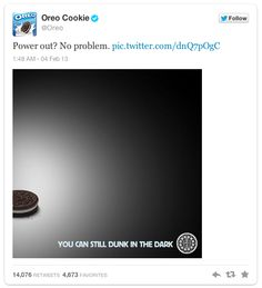 Oreo outshines the millions of Dollars worth of TV ads at last night's superbowl with one FREE real-time tweet regarding the powercut
