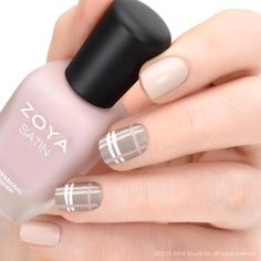 Zoya Nail Polish in Purity is a White, Cream Nail Polish Color.Buy Zoya Nail Polish in Purity and see swatches and color descriptions. Plaid Nail Art, Plaid Nails, Nude Nails, Pink Nails, Gel Nails, White Nails, Do It Yourself Nails, How To Do Nails, Nagellack Design