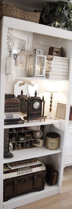 bookshelf with antiques