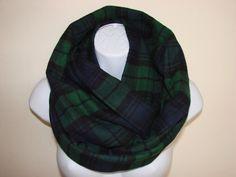 green navy plaid infinity scarf Blackwatch by OtiliaBoutique Plaid Infinity Scarf, Plaid Flannel, Autumn Winter Fashion, Unisex, Navy, Stylish, Green, Fabric, Cotton