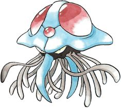 #Tentacruel from the official artwork set for #Pokemon Red and Green for #GameBoy. http://www.pokemondungeon.com/pokemon-green-version