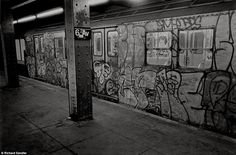 The late 1970s and 80s signaled the beginnings of street art as we know it, with subways like this one in 1986 covered in tags by illicit painters.