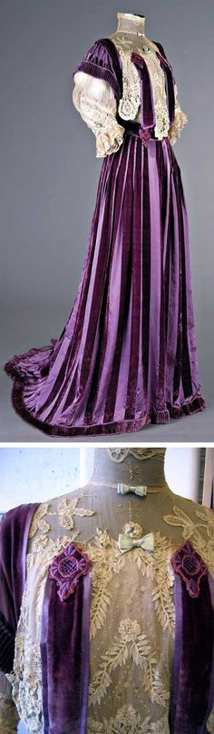 Striped purple velvet gown, circa 1905, with tapelace-inserted bodice and trained skirt. Via Kerry Taylor Auctions.