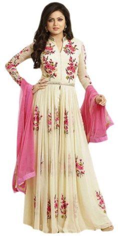 Smashing Off-White Silk Anarkali Suit With Dupatta.