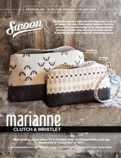 Marianne Clutch & Wristlet - PDF Vintage Purse Clutch Wristlet Bag Sewing Pattern by Swoon Bag Sewing Pattern, Bag Patterns To Sew, Sewing Patterns Free, Handbag Patterns, Free Sewing, Sewing Diy, Sewing Ideas, Free Pattern, Vintage Clutch