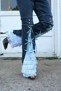 Chelsie Belles designer    Girl that has it all blue jeans.  recycled  lace ruffle grommet embellished jeans any size.  Etsy.