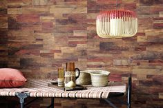 """New wallpaper collection """"Nomades"""". Real effect of palm bark. Vinyl wallpaper on an unwoven backing. www.elitis.fr/... #wallpaper, #woodeffect, #elitis, #wall, #red"""