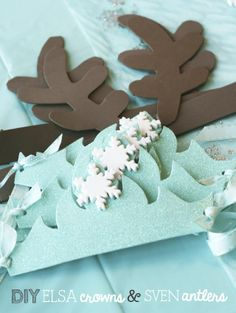 Using some scrap paper or some cheap foam from a craft store DIY your very own Elsa crown and Sven antlers from frozen! #fun #activities