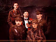 """Blackadder Goes Forth"" (1989) via BBC Comedy.  L-R: (back) Captain Kevin Darling (Tim McInnerny), General Melchett (Stephen Fry) and  Lieutenant George (Hugh Laurie); (front) Captain Edmund Blackadder (Rowan Atkinson) and Private S. Baldrick (Tony Robinson)."