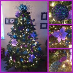 turquoise purple blue silver peacock christmas tree - Christmas Tree With Purple Blue And Silver Decorations