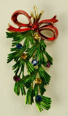 Vintage Hedy Christmas Tree Branch Bow Brooch Pin Rhinestone