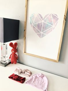 Farmhouse style sign with wood frame for girls nursery or bedroom. Geometric Heart, Heart Sign, Sweet Girls, Girl Nursery, Future House, Farmhouse Style, Watercolour, Bedroom, Wood