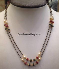 black beads or nallapusalu Gold Bangles Design, Gold Earrings Designs, Gold Jewellery Design, Necklace Designs, Gold Designs, Designer Jewelry, Diamond Mangalsutra, Gold Mangalsutra Designs, Beaded Jewelry