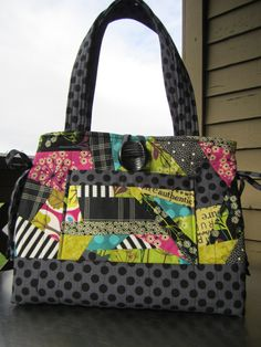 Green and Black Crazy Quilt Purse by StGeorgeStudio on Etsy, $75.00