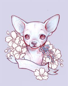Animal Sketches, Art Drawings Sketches, Easy Drawings, Animal Drawings, Chihuahua Drawing, Chihuahua Art, Tattoo Perro, Pincher Dog, Cute Coloring Pages