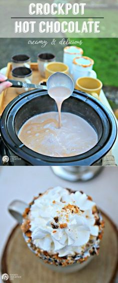 Creamy and Delicious Crockpot Hot Chocolate   This slow cooker hot chocolate gives all other recipes a run for their money! Creamy, delicious and loved by all! Get the recipe on TodaysCreativeLife.com