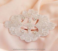 Crystal Beaded Applique, Rhinestone Applique, Silver Applique - 1 Piece - Sashes Fascinators Headbands Apparel Wedding Bridal - India Clover on Etsy, $7.95