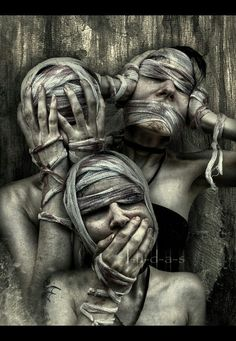 See no evil, hear no evil, speak no evil...would make as a creative and potentially cool concept for a photography session