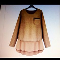 Sweaters with zipper pocket & flair in back. Cute peanut butter sweater with underlay of white cotton. Back of sweater has an opening as shown in picture. Too cute! Have 1 in Peanut Butter color size XS. T2 Sweaters