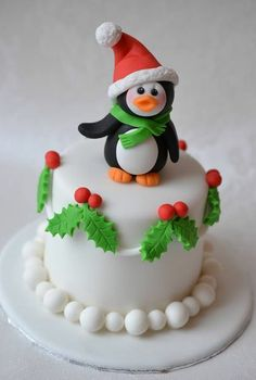 Christmas Mini Cake with Penguin