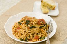 Cajun Pasta with White Beans and Kale... Vegan and the perfect spicy dish for Valentine's Day!