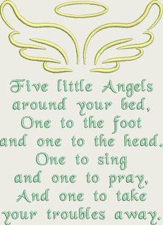 Fünf kleine Engel Gebet Maschine Stickerei Design-Muster für 5