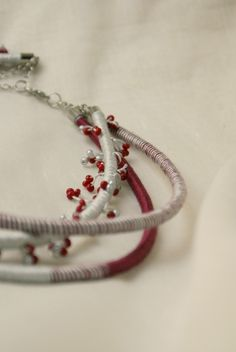 red grey necklace Triple long fiber Hand wrapped necklace Etno fiber jewelry African style necklace