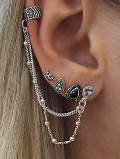 4 PCS Vintage Chain Tassels Crown&Water Drop Pattern Earrings