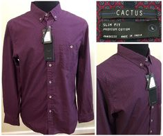 Mens Cactus Red Slim Fit Dress Shirt Size Large Premium Clothing NEW #Cactus