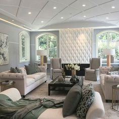 ♡ ᒪOᑌIᔕE ♡ Living Room Grey, Living Room Sofa, Living Spaces, Dining Room, Porches, Interior Design Living Room, Interior Decorating, Home Comforts, Elegant Homes