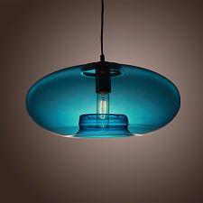 Blue Glass Pendant Lamp Modern Bubble Design Ceiling Hanging Light Fixture