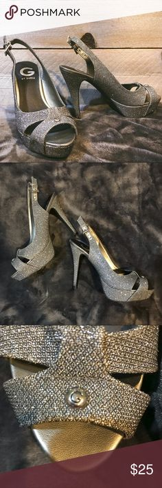 Silver Sparkly Pumps Platform Heels ✨ Only worn ONCE. Only damage is some dirt on the base of the heel, pictured above. You can't tell when you're wearing them ✨ for heels, very comfortable, easy to walk in. Great for PROM SEASON, or any fun dressy event! ✨ Silver inside is showing up gold in some pictures, but it is silver  SMOKE FREE HOME • FEEL FREE TO MAKE AN OFFER! Shoes Heels