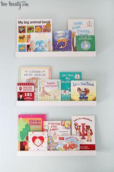Our book ledges in @twotwentyone's nursery