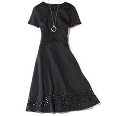 Avon Laser Cut Little Black Dress. Short sleeves, back zipper, and laser cutouts along the hemline. Polyester/spandex scuba, Machine wash and dry. Avon Fashion, New Fashion, Fashion Brands, Womens Fashion, Avon Clothing, Weekly Outfits, Signature Collection, Laser, Colorful Fashion