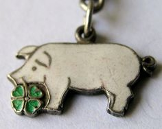VINTAGE GERMAN SILVER & ENAMEL 'LUCKY' PINK PIG w/ CLOVER CHARM