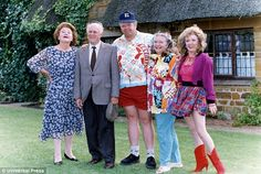 Sunday best: With husband Richard brother-in-law Onslow Daisy and Rose. British Sitcoms, British Comedy Series, British Actors, Uk Tv Shows, Biological Mother, Mothers Friend, Keeping Up Appearances, Bbc Tv, Comedy Tv
