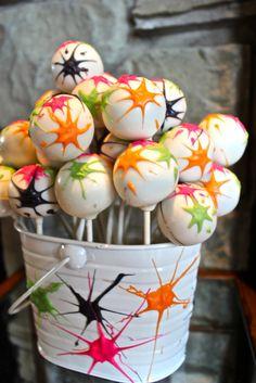 Paintball Splatter Cake Pops!