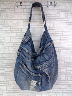 Denim bag, purse, handbag, shoulder hobo bag. Grunge, Rock, Urban style. Handmade by BukiBuki https://www.etsy.com/listing/248823721/large-hobo-bag-slouchy-tote-handbag?ref=shop_home_active_9
