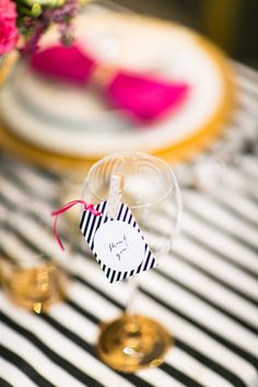 Kate Spade Party - paint bottom of wine glasses gold WEDDING FAVORS: PAINT EACH GUESTS NAME ON THE BOTTOM, ATTACH TABLE NUMBER ON PAPER