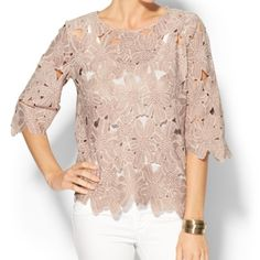 Aryn K pink exploded lace top Blush pink color. Cut outs throughout. Poly & rayon. Loose fitting and unique. Anthropologie Tops Blouses