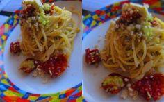 Spaghetti con avocado e pomodori secchi