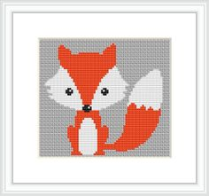Cute red fox 1, Counted cross stitch pattern, Instant Download, Free shipping, Cross-Stitch PDF