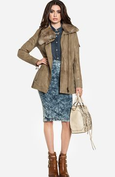 Check out Tech Savvy at DailyLook. Polka  Chambray shirt, Leather parka, Acid wash Denim Pencil skirt